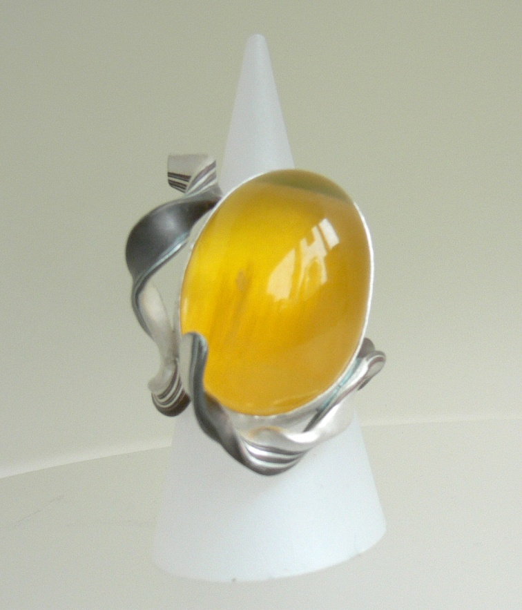 Karin Sheldon MokumeGane Ring with large Yellow Garnet 300dpi